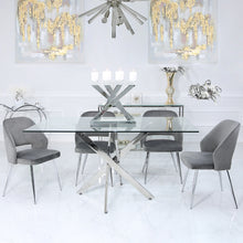 Denver Rectangle Dining Set with 4 Grey Velvet Chairs