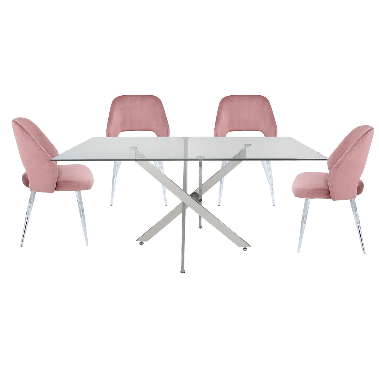 Denver Rectangle Dining Set with 4 Blush Pink Velvet Chairs