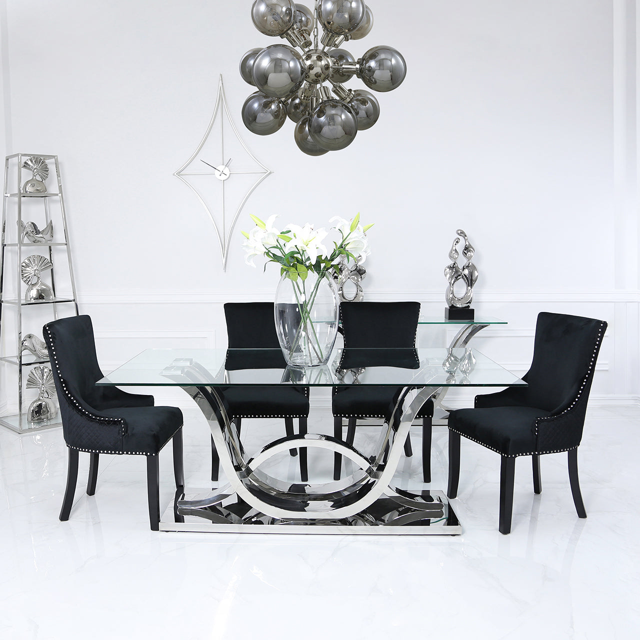 Carvelle Dining Set With Black Chairs