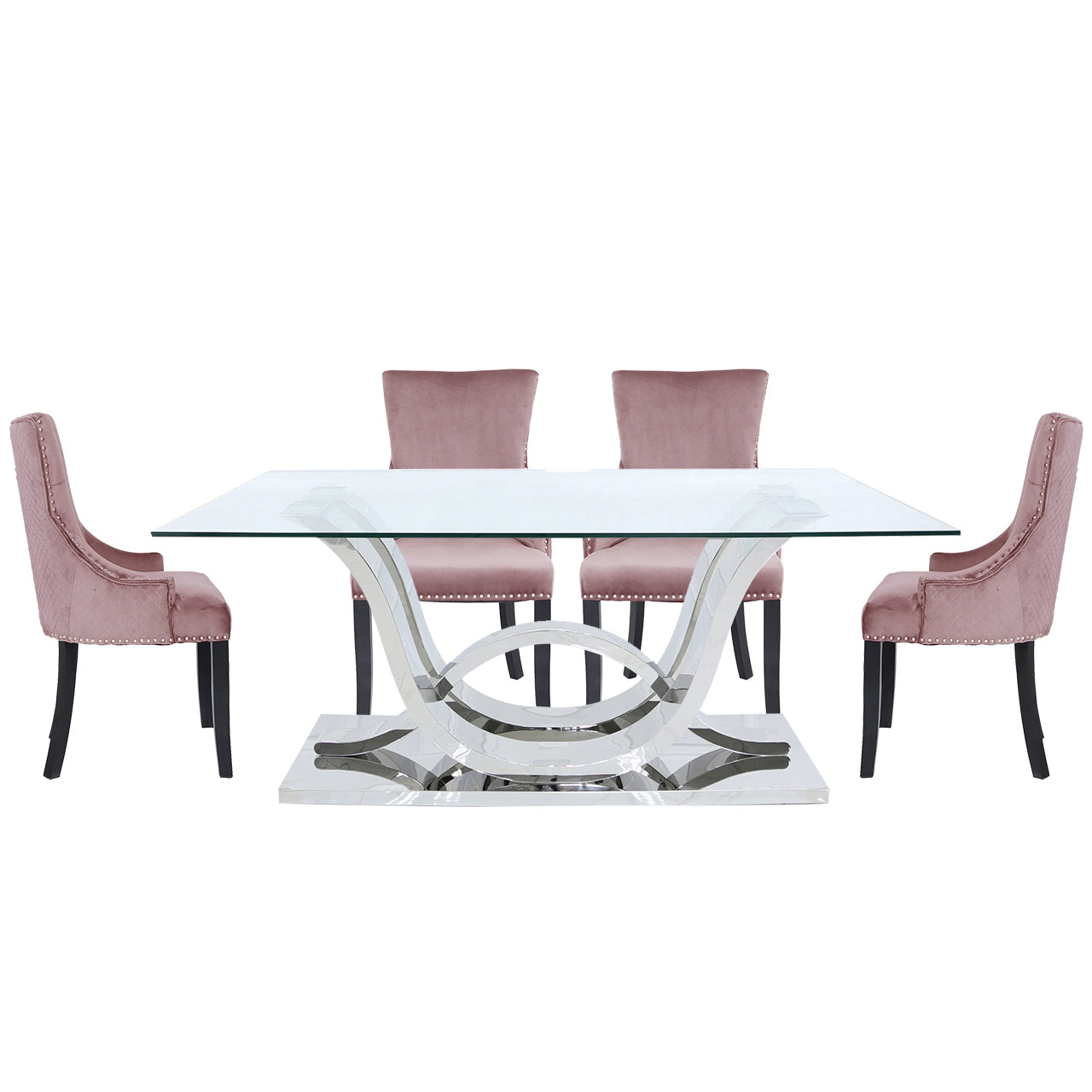Carvelle Dining Set With 6 Pink Chairs