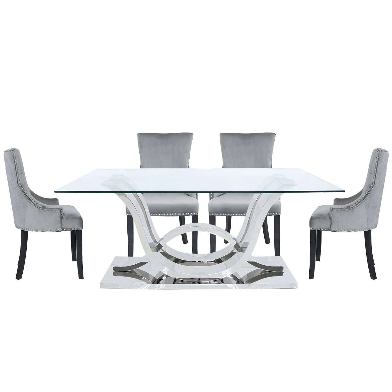 Carvelle Dining Set With 6 Grey Chairs