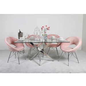 Carter Rectangular Dining Set with 4 Pink Orb Chairs