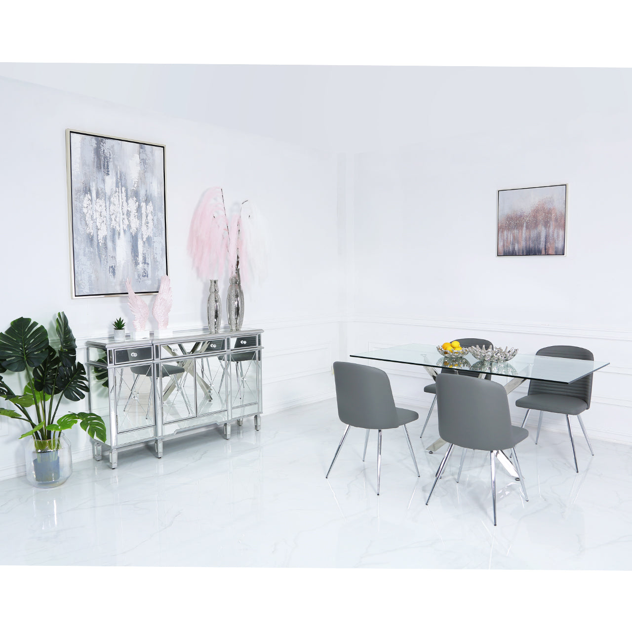 Denver Dining Set with 4 Grey Chairs