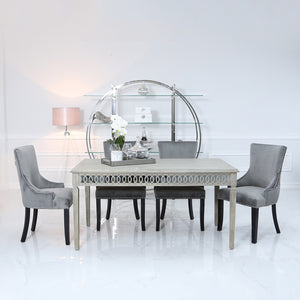 Large Bayview Dining Set with 6 Ring Back grey Chairs