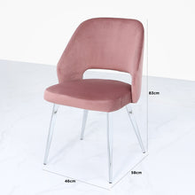 Denver Pink Velvet & Chrome Dining Chair
