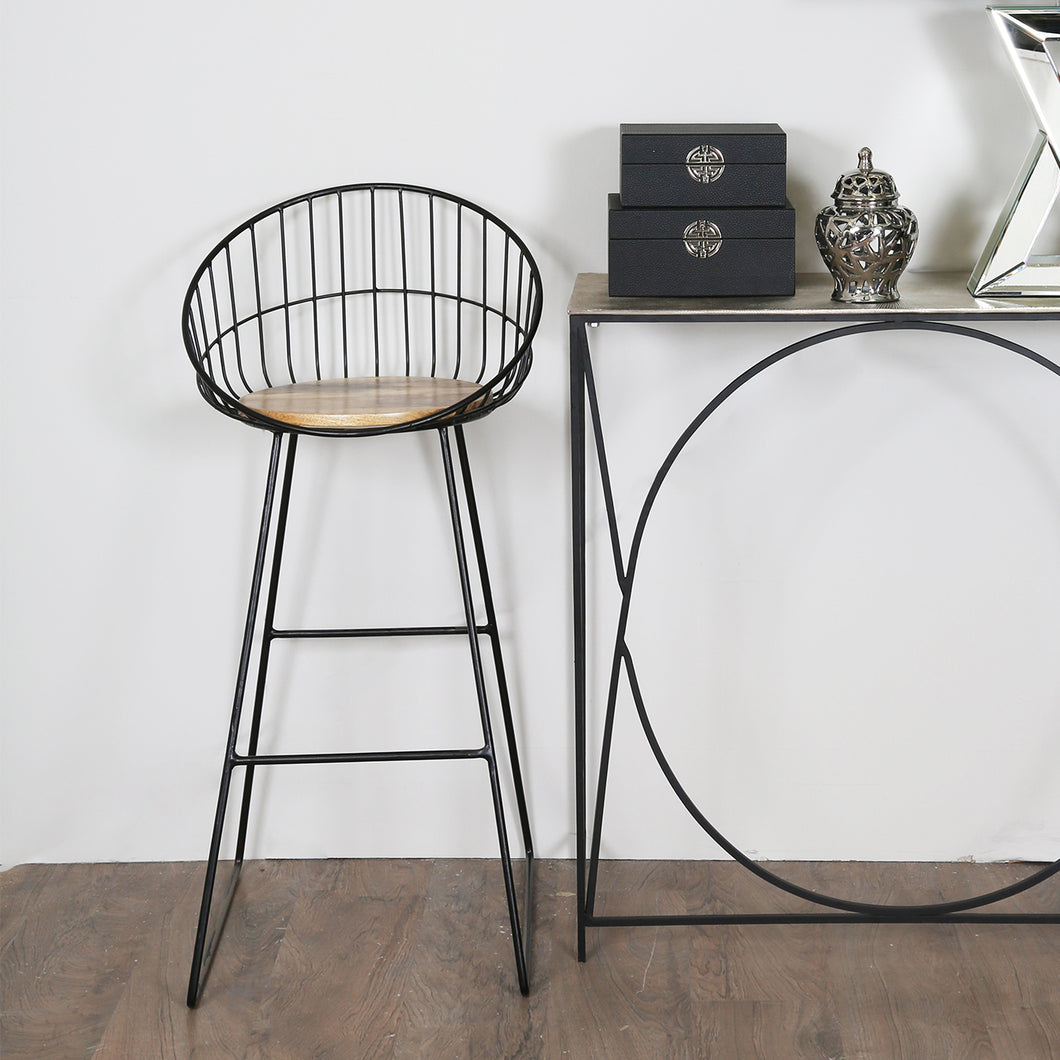 Wooden Black Bar Stool
