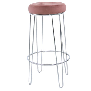Chrome and Pink Velvet Bar Stool