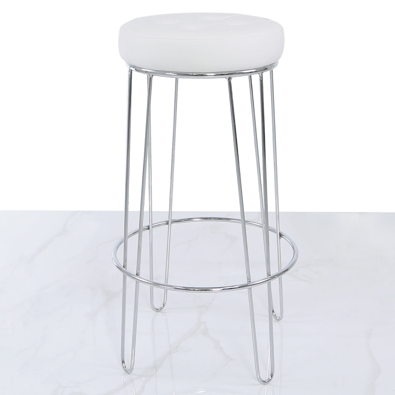 Atom Chrome and White Faux Leather Bar Stool