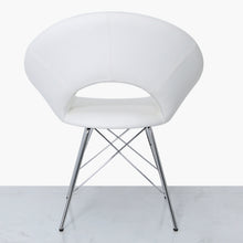 Orb Chrome and White Faux Leather Chair