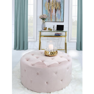 Round Pink Velvet Stool with Buttons