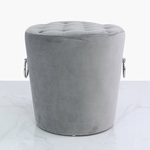 Grey Round Velvet Stool with Side Rings