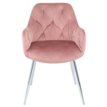 Rose Pink Velvet Tufted Dining Chair