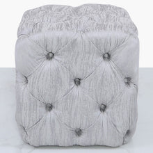 Belle Silver Tufted Stool