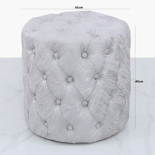 Chelsea Silver Tufted Stool