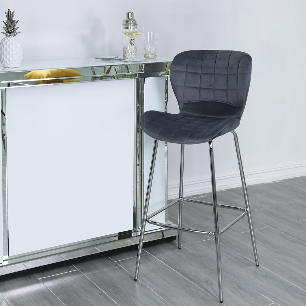 Grey Curve Bar Stool