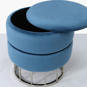 Blue  Round Storage Stool