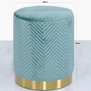 Mint Green Patterned Round Footstool