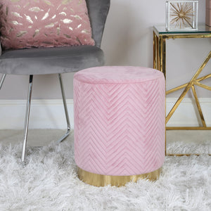 Blush Pink Patterned Round Footstool