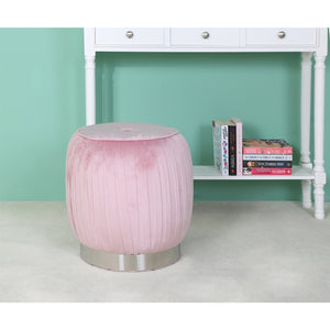 Baby Pink/ Grey Round Footstool