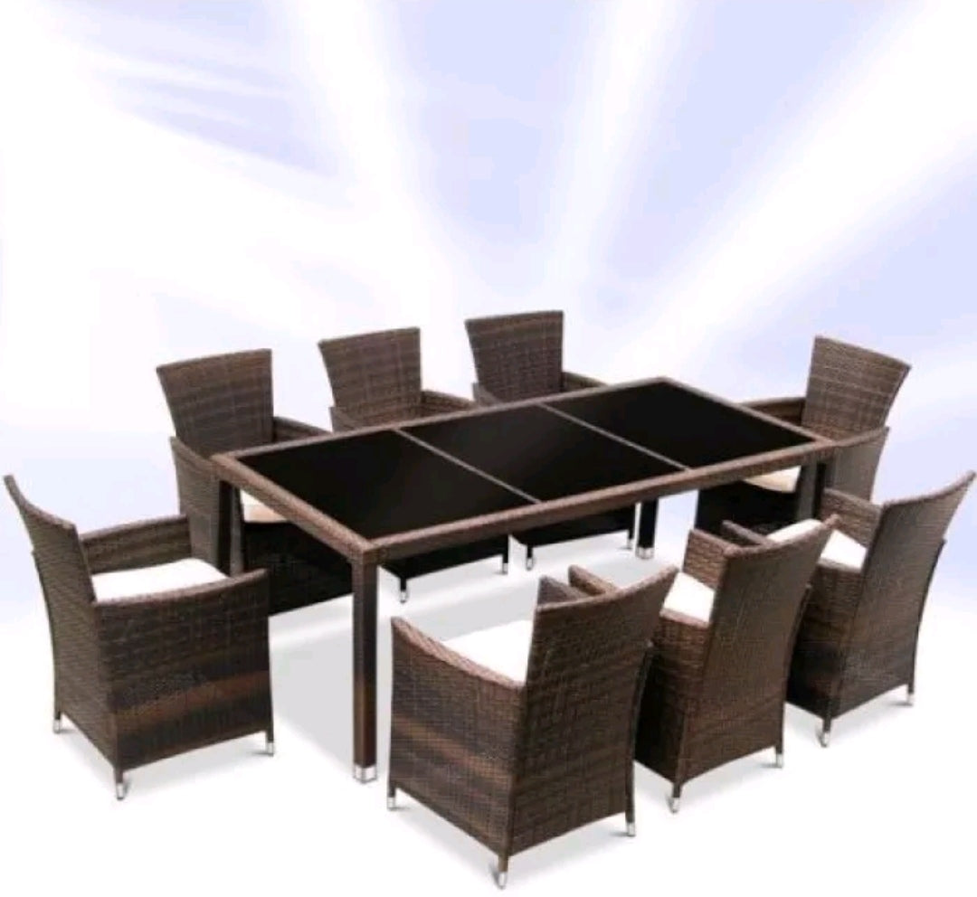 Rattan Garden Furniture Dining Table And 8 Chairs Dining Set Outdoor P Furnico Living
