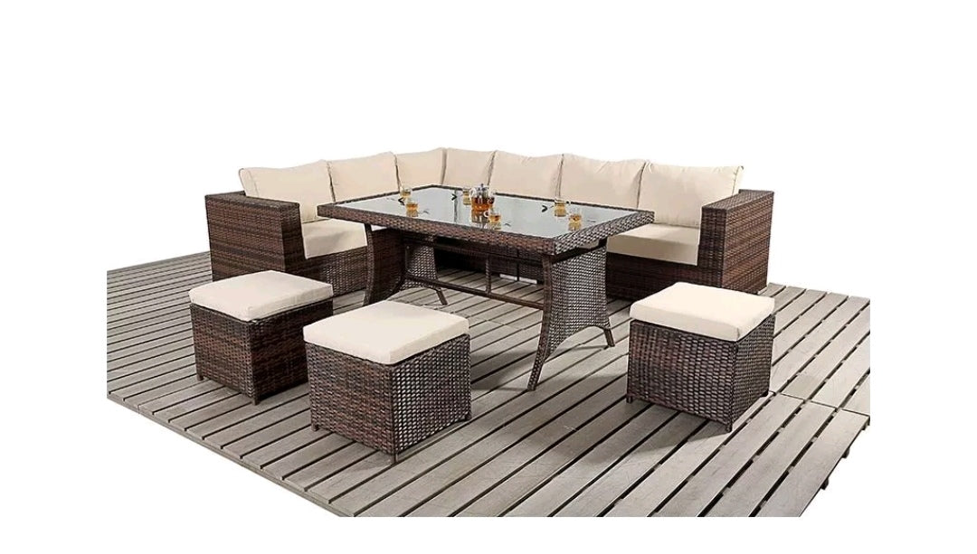 9 Seater Rattan Garden Furniture Sofa Dining Table Set Conservatory Ou Furnico Living