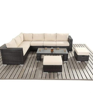 RALPH LARGE RATTAN CORNER SOFA - BLACK/BROWN