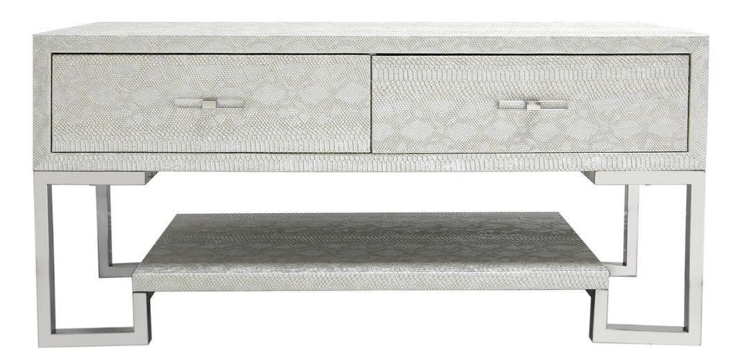 2 Drawer Faux Snakeskin Entertainment Unit