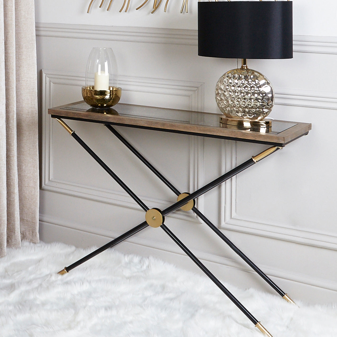 Black X Shaped Table