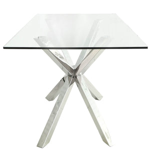 Crisscross Glass End Table