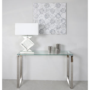 Simple Silver Stainless Steel Console Table