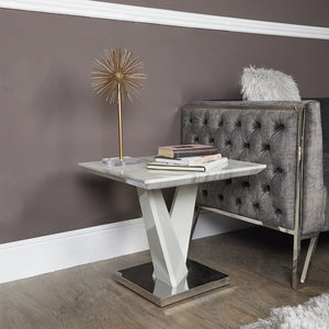 Geometric Marble Effect End Table