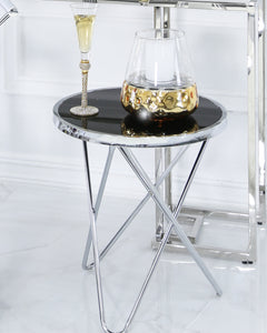Hutton Round Black End Table