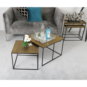 Amara Set of 2 Gold Square End Tables