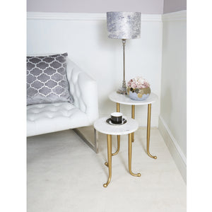 Set of 2 Gold and White End Tables