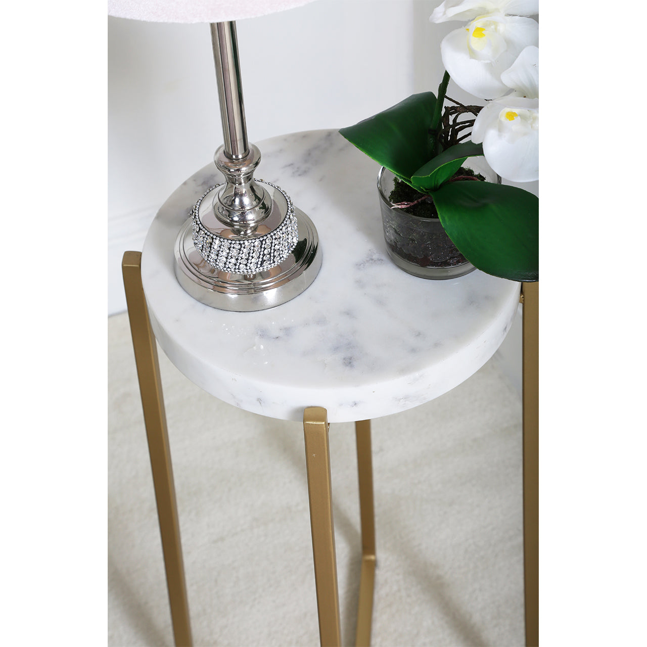 Gold and White Marble End Table