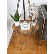 Natural Wood and Gold End Table