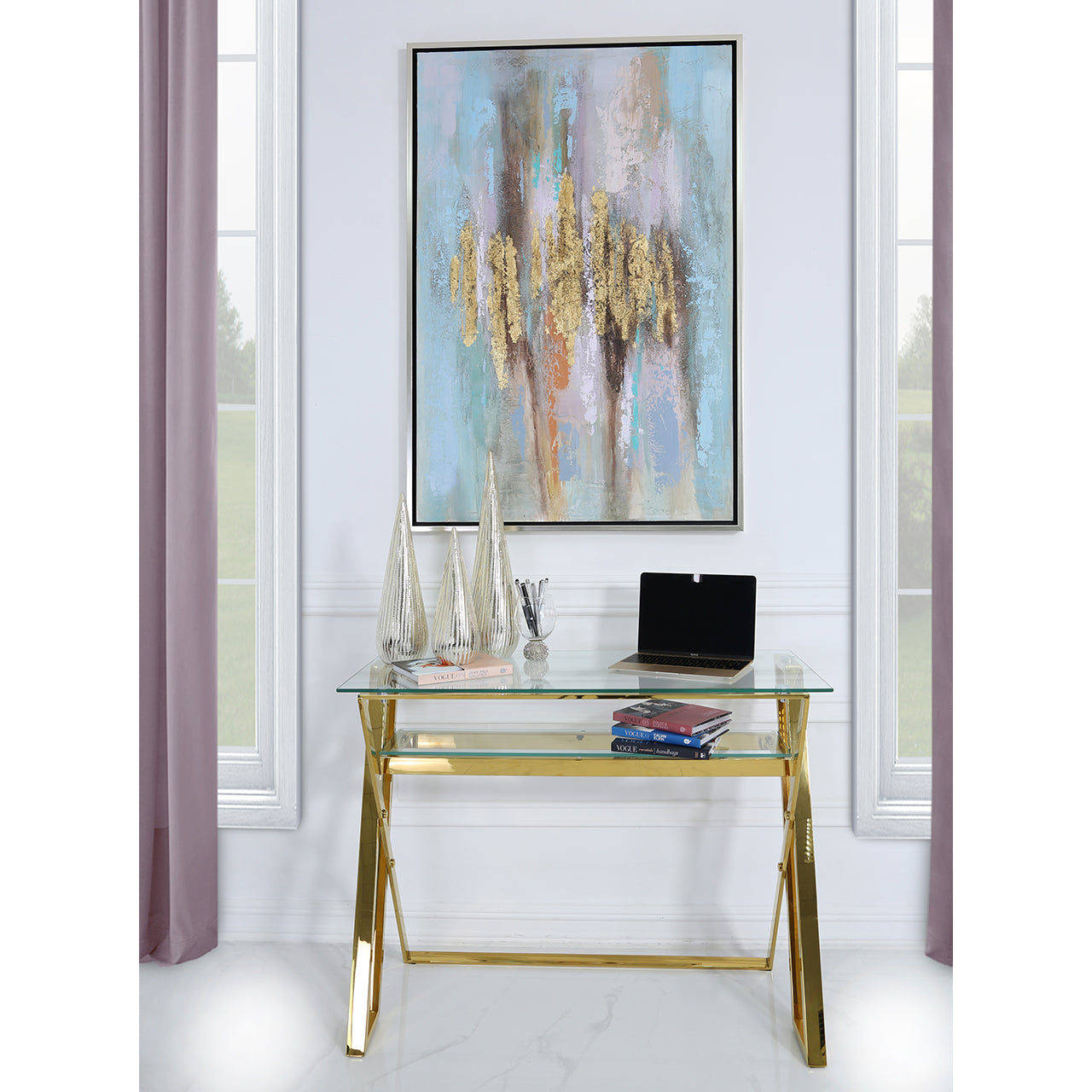 Gold and Clear Glass Desk