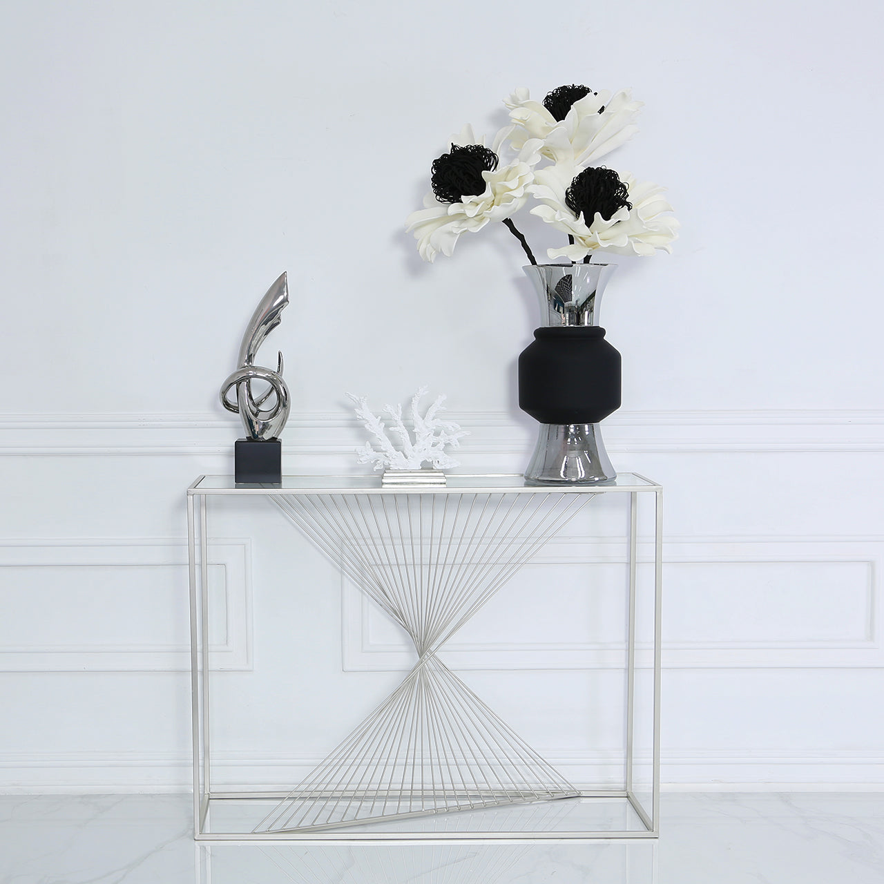 Silver Metal & Glass Display Unit