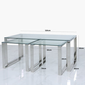 Set of 3 Harvard Steel and Glass End Table (Available in Silver & Gold)