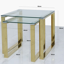Set of 2 Harvard Glass End Tables (Available in Silver & Gold)