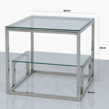 Harvard Steel and Clear Glass Tiered End Table