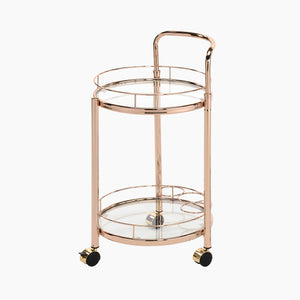 Rose Gold Metal and Clear Glass Trolley