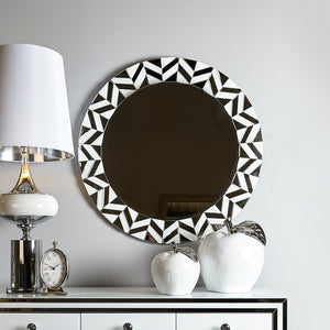 White Chelsea Tiled Round Wall Mirror