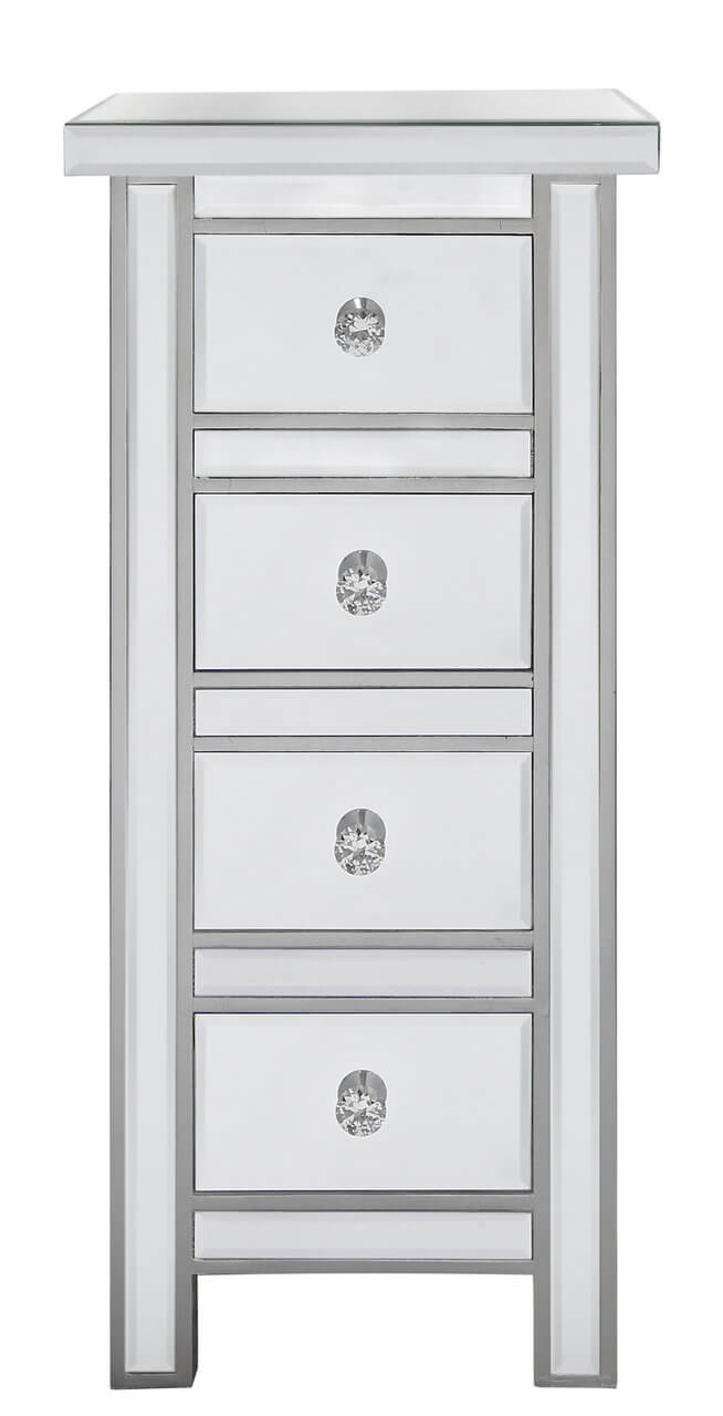 Silver Mirrored 4 Drawer Cabinet