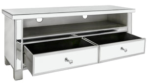 Norman Mirrored  Silver Entertainment Unit