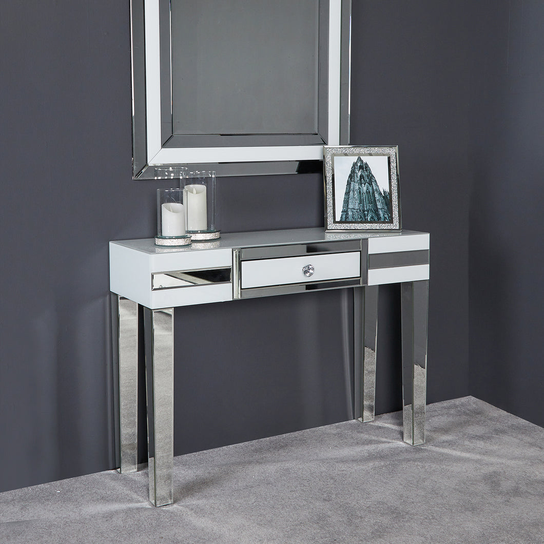 White Harriet Mirrored 1 Drawer Table