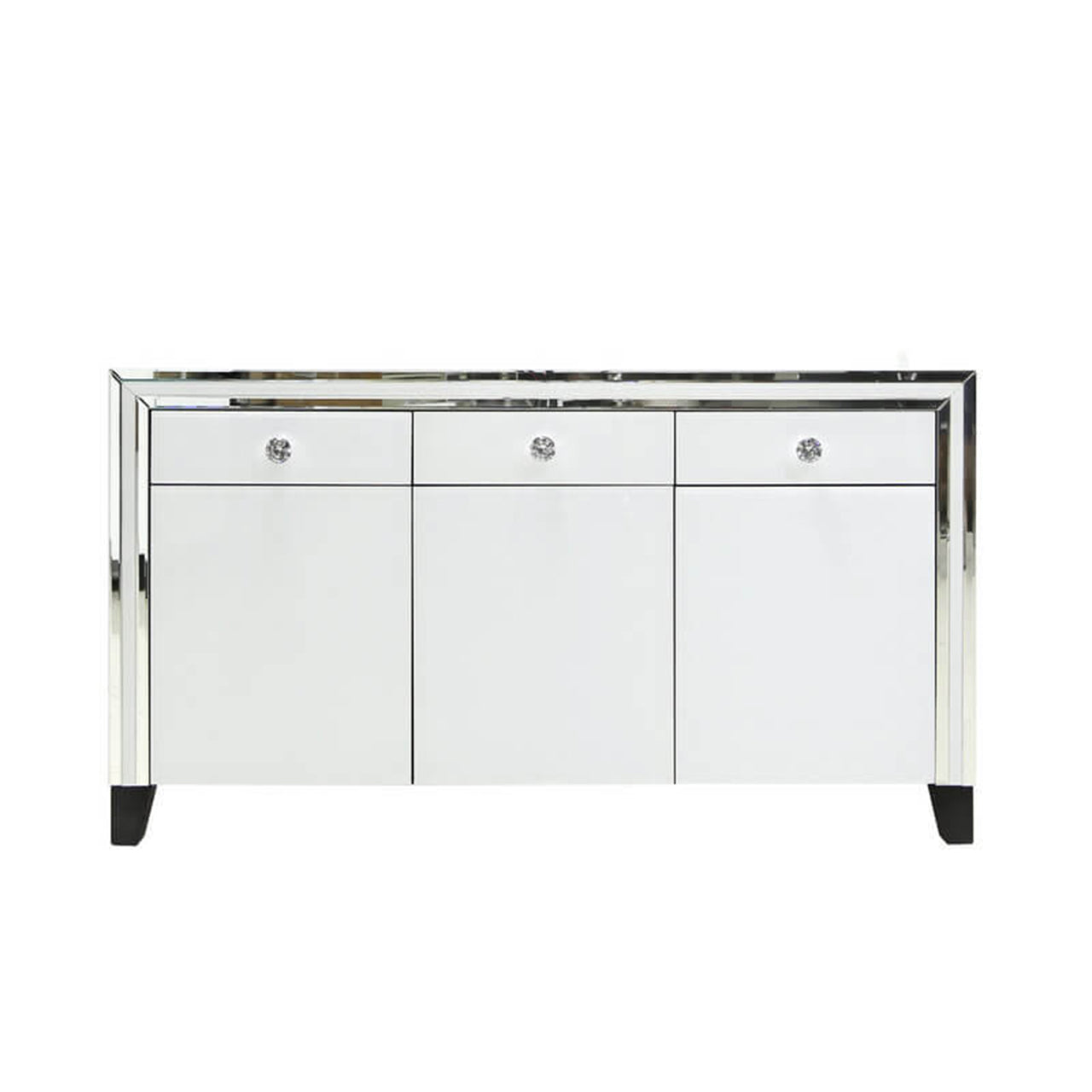 The White Chelsea Mirror 3 Draw 3 Door Bed Side Cabinet