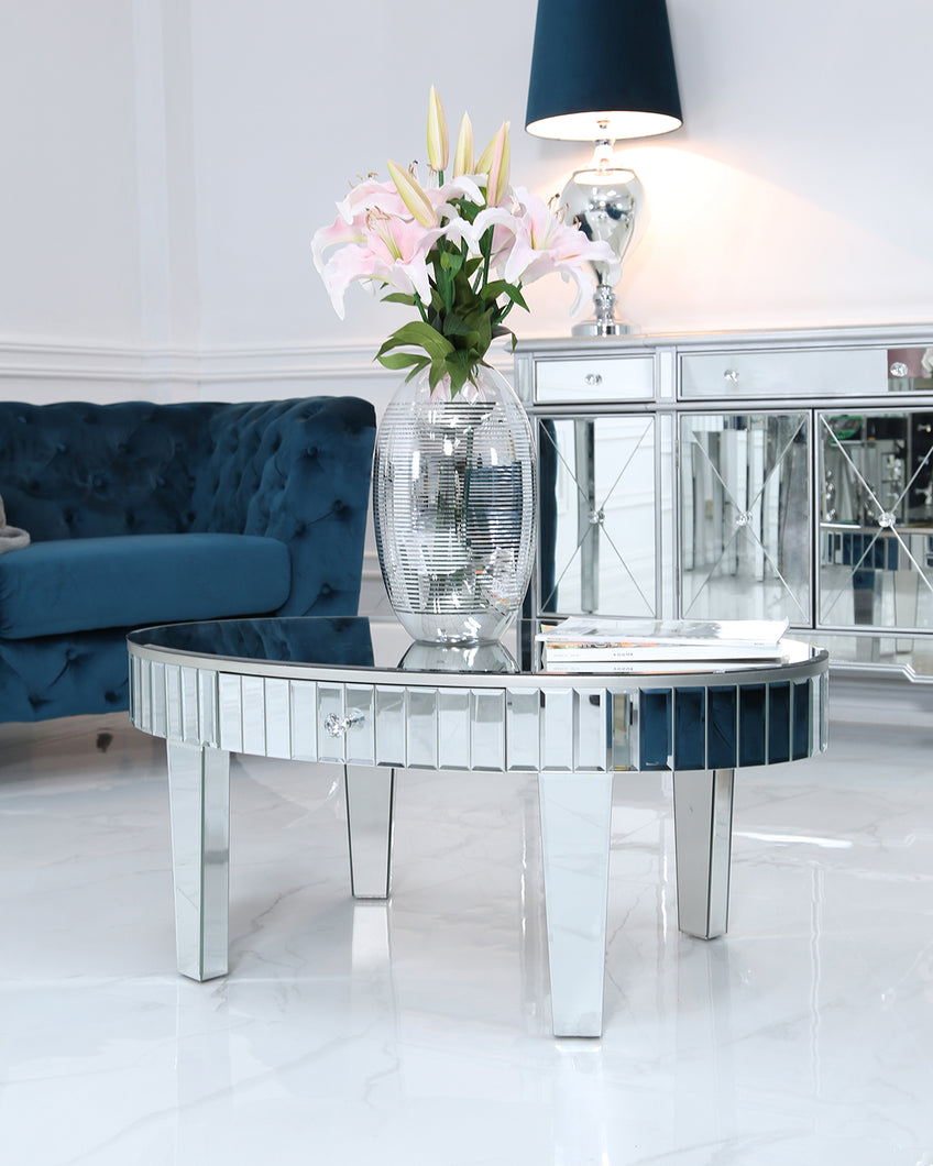 Mirrored Oval Coffee Table