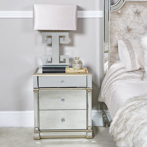 Mirrored Champagne 3 Drawer Cabinet