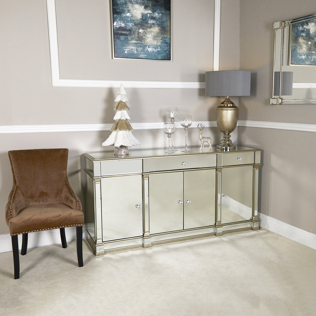 Champagne Casablanca Mirrored Side Cabinet